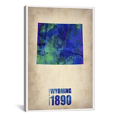 iCanvas Wyoming Watercolor Map by Naxart Graphic Art on Wrapped Canvas; 40'' H x 26'' W x 0.75'' D