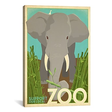 iCanvas VAF Zoo Elephant Graphic Art on Wrapped Canvas; 61'' H x 41'' W x 1.5'' D