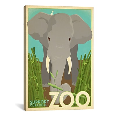 iCanvas VAF Zoo Elephant Graphic Art on Wrapped Canvas; 41'' H x 27'' W x 1.5'' D