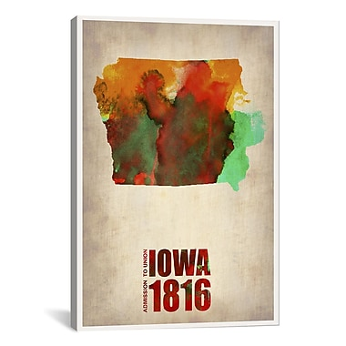 iCanvas Iowa Watercolor Map by Naxart Graphic Art on Wrapped Canvas; 41'' H x 27'' W x 1.5'' D