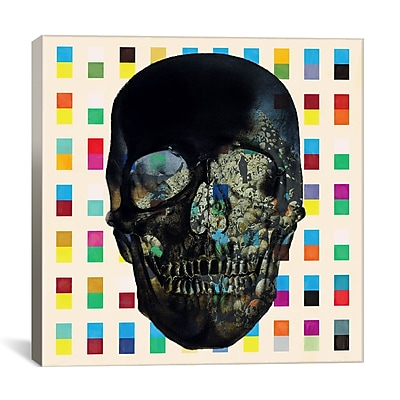 iCanvas Dark Skull Cubes Graphic Art on Wrapped Canvas; 18'' H x 18'' W x 0.75'' D