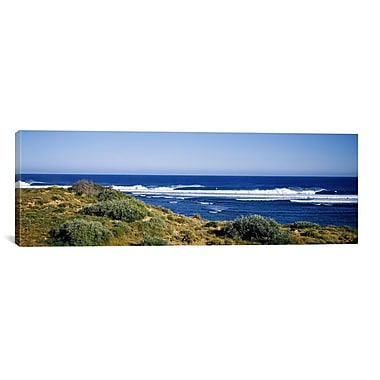 iCanvas Panoramic Waves Breaking on The Beach Photographic Print on Wrapped Canvas