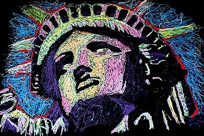 iCanvas Liberty Drip 002 by Rock Demarco Graphic Art on Wrapped Canvas; 26'' H x 40'' W x 1.5'' D