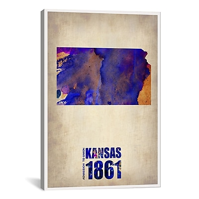 iCanvas Kansas Watercolor Map by Naxart Graphic Art on Wrapped Canvas; 60'' H x 40'' W x 1.5'' D