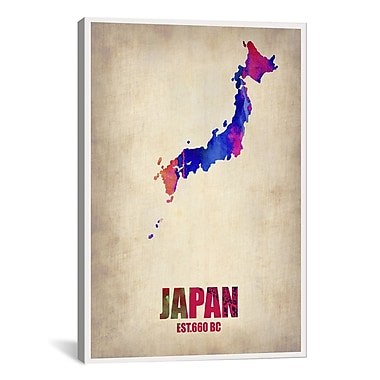iCanvas Japan Watercolor Map Print by Naxart Graphic Art on Canvas; 40'' H x 26'' W x 0.75'' D