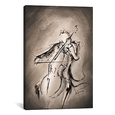 iCanvas 'The Cellist' by Marc Allante Painting Print on Wrapped Canvas; 41'' H x 27'' W x 1.5'' D