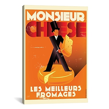 iCanvas American Flat Monsieur Cheese Graphic Art on Wrapped Canvas; 40'' H x 26'' W x 0.75'' D