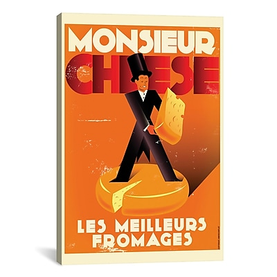 iCanvas American Flat Monsieur Cheese Graphic Art on Wrapped Canvas; 18'' H x 12'' W x 0.75'' D