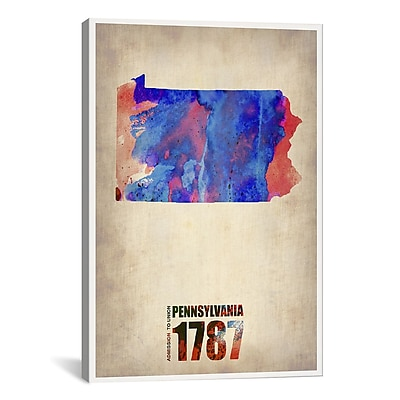 iCanvas Pennsylvania Watercolor Map Graphic Art on Wrapped Canvas; 41'' H x 27'' W x 1.5'' D