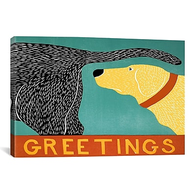 iCanvas Greetings Black Yellow by Stephen Huneck Painting Print on Wrapped Canvas