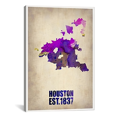 iCanvas Huston Watercolor Map by Naxart Graphic Art on Wrapped Canvas; 26'' H x 18'' W x 0.75'' D