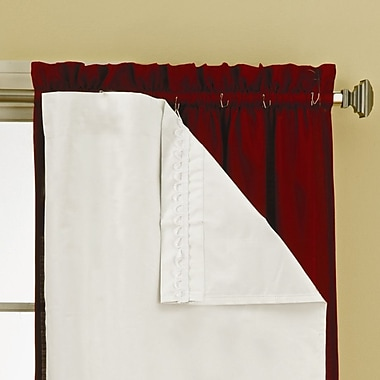 Eclipse Curtains Solid Blackout Thermal Rod Pocket Curtain Panels (Set of 2); 27'' W x 60'' L
