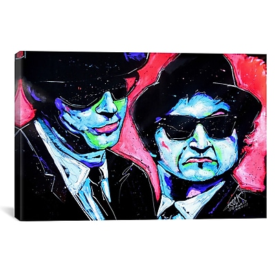 iCanvas Rock Demarco Blues Bros 001 Painting Print on Wrapped Canvas; 27'' H x 41'' W x 1.5'' D