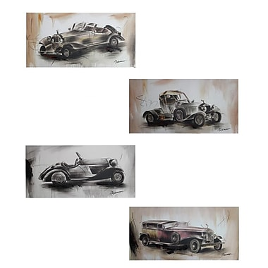 Entrada 'Automobiles' 4 Piece Drawing Print Set on Canvas