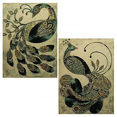 Entrada Peacock 2 Piece Painting Print Plaque Set
