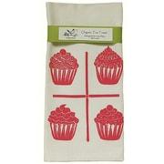 Artgoodies Organic Cupcake Grid Block Print Tea Towel