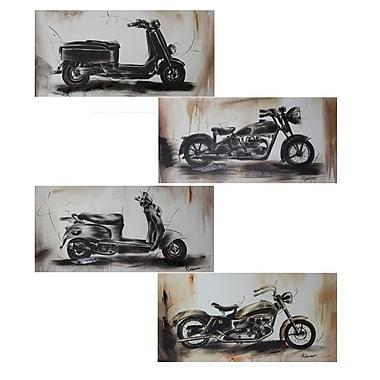 Entrada 'Motorbikes' 4 Piece Drawing Print Set on Canvas