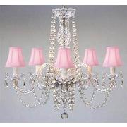 Harrison Lane Swarovski 5-Light Shaded Chandelier; Pink