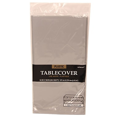 JAM Paper® Plastic Table Covers, Silver Table Cloths, Sold Individually  (291425381)