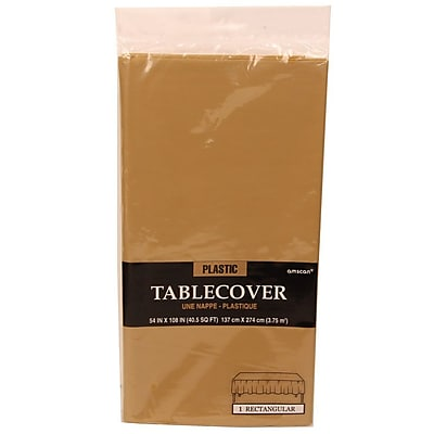 JAM Paper® Plastic Table Covers, Gold Table Cloths, Sold Individually (291425371)