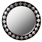 "Kenroy Home 35"" Rhombus Wall Mirror, Espresso with Silver Finish"