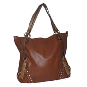 """Zallzo™ 14"""" x 17 1/2"""" x 4"""" """"Charlotte Elise"""" Traditional East-West Tote Bag, Brown"""