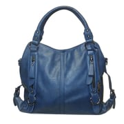 "Michael Michelle 10"" x 14"" x 7"" ""Lydia"" Buckled Shoulder Bag, Blue"
