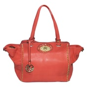 "Michael Michelle 11"" x 19"" x 6"" ""Upton"" Wide Studded Tote Bag, Coral"