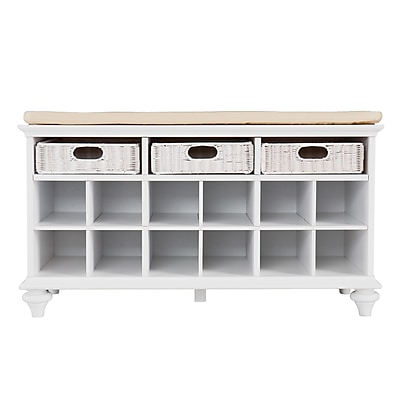 SEI Chelmsford Hardwood Entryway/Shoe Bench, White/Cream