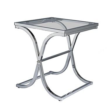 SEI Vogue Glass End Table, Chrome, Each (CK0942)