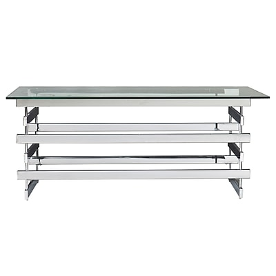 SEI Hoxley Glass Cocktail Table, Chrome, Each (CK7370)