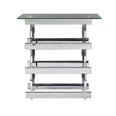 SEI Hoxley Glass End Table, Chrome, Each (CK7372)