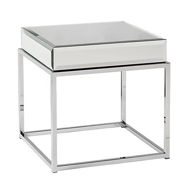 SEI Wood/Veneer End Table, Chrome, Each (CK9272)