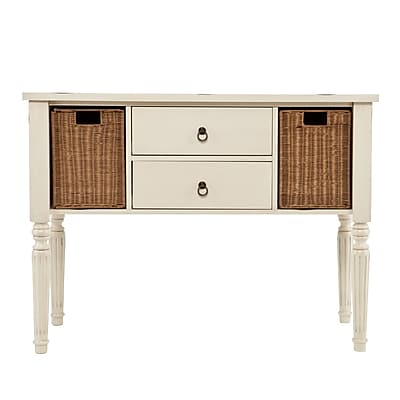 SEI Concord Wood/Veneer Console Table, White, Each (CM2216)