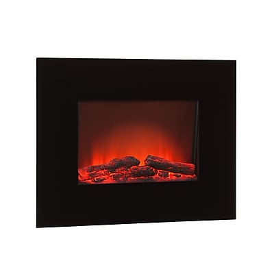 SEI Metal Electric Wall-Mount Fireplace, Black