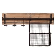 SEI Entryway Metal Wall-Mount Storage, Rustic Wood