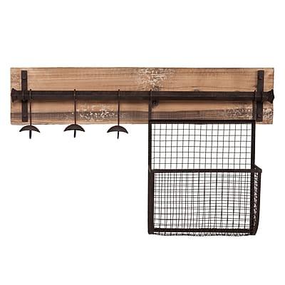 SEI Entryway Metal Wall-Mount Storage, Rustic Wood