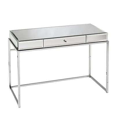 sei dana mirrored writing desk chrome ho9274 staples rh staples com staples desk writing pad staples white writing desk