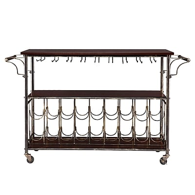 SEI Rolden Wine/Bar Cart, Black/Espresso