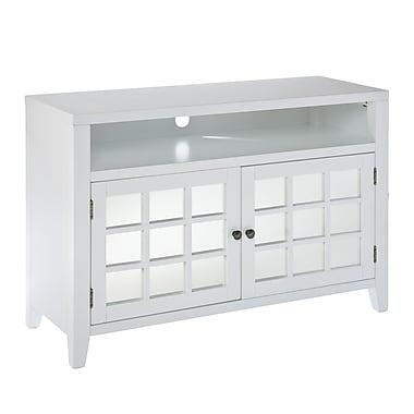 SEI Marston TV/Media Stand With Glass Doors, White