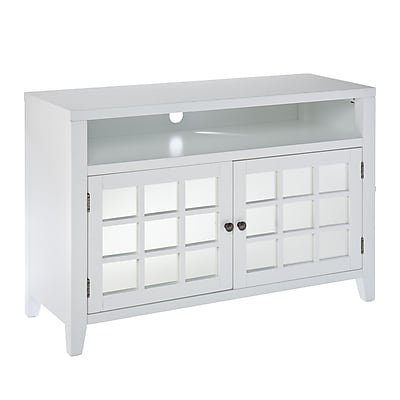 SEI Marston TV/Media Stand With Glass Doors, White