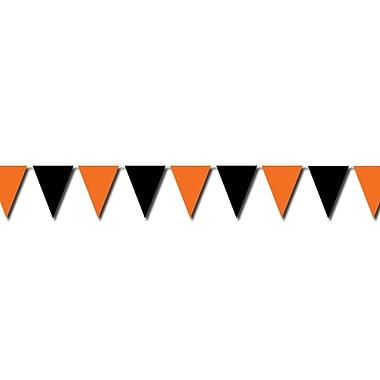 Bannière extérieure à fanions, 17 po x 30 pi, orange et noir, paq./2