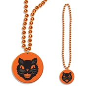 Beistle Beads Necklace With Cat Medallion, 33""