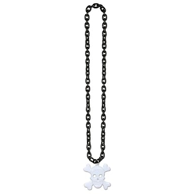 Beistle Chain Beads Necklace With Skull and Crossbones Medal, 36