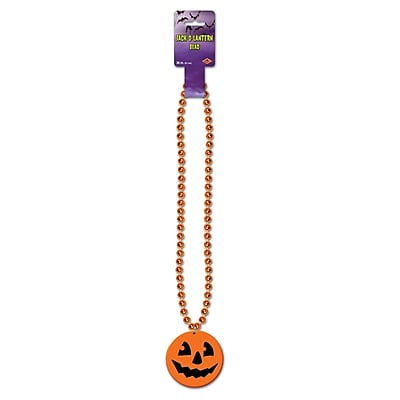 Beistle Beads Necklace With Printed Jack-O Lantern Medallion, 36