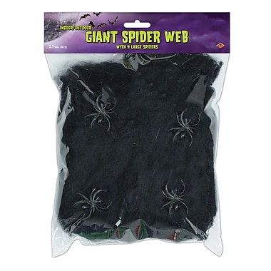 Beistle Flame Retardant Giant Spider Web, Black, 10.5/Pack