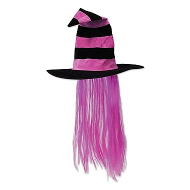 Witch Hat with Hair, One size fits most, Hot pink, 2/pack