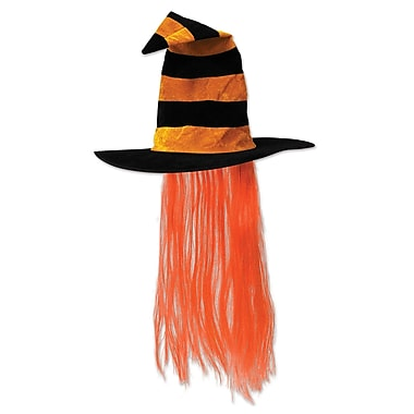 Witch Hat with Hair, One size fits most, Orange, 2/pack