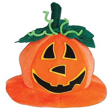 Plush Cute Jack-O-Lantern Hat, One size fits most, 2/pack