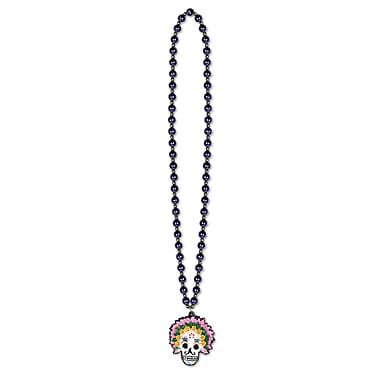 Beistle Beads Necklace With Day Of The Dead Medallion, 36